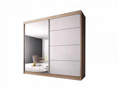 Murphy 35 šatní skříň 180, dub sonoma/bílý pololesk/zrcadlo