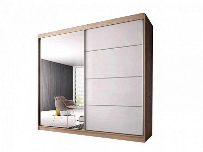 Murphy 35 šatní skříň 200, dub sonoma/bílý pololesk/zrcadlo