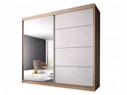 Murphy 35 šatní skříň 230, dub sonoma/bílý pololesk/zrcadlo