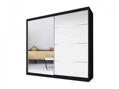 MURPHY 35 šatní skříň 180, černá/bíla pololesk/zrcadlo