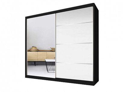 Murphy 35 šatní skříň 200, černá/bíla pololesk/zrcadlo