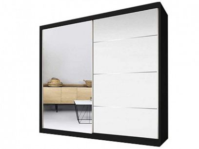 Murphy 35 šatní skříň 230, černá/bíla pololesk/zrcadlo