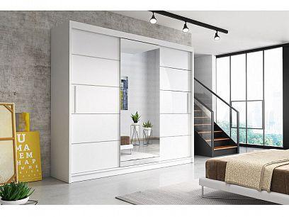 ALBATROS  šatní skříň 250, bílá/zrcadlo