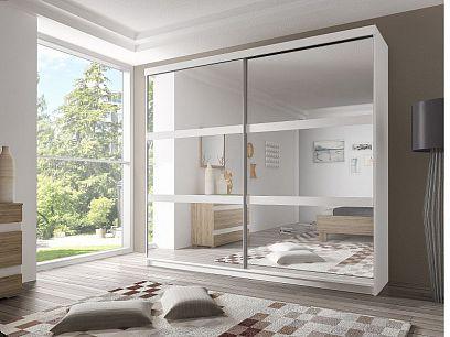 MURPHY 10 šatní skříň 200, bílá/bílá mat/zrcadlo