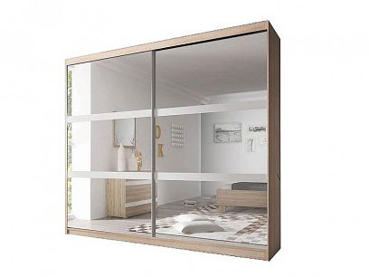 MURPHY 10 šatní skříň 230, dub sonoma/bílá mat/zrcadlo