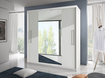 TORONTO šatní skříň 200, bílá/zrcadlo
