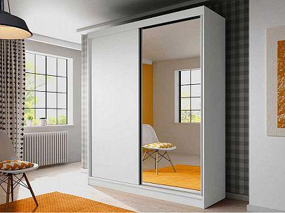 BELARIA 03 šatní skříň 180, bílý mat/zrcadlo