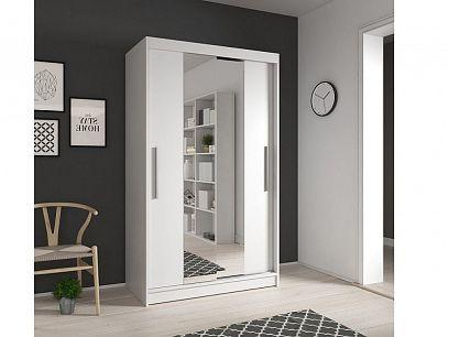 NAOMI 01 šatní skříň 120, bílá mat/zrcadlo