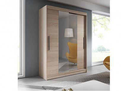 Vital 01 šatní skříň 150, dub sonoma / zrcadlo