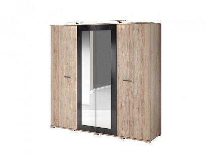 BAUNTI BA 20 šatní skříň 4D, dub san remo pískový/černý lesk