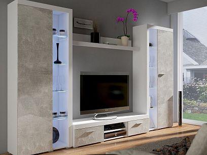 ROBBEN obývací stěna, bílá/beton