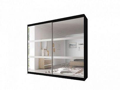 MURPHY 10 šatní skříň 180, černá/bílá/zrcadlo