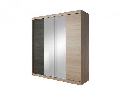 VERMONT 2D šatní skříň, dub sonoma/ borovice černá/zrcadlo