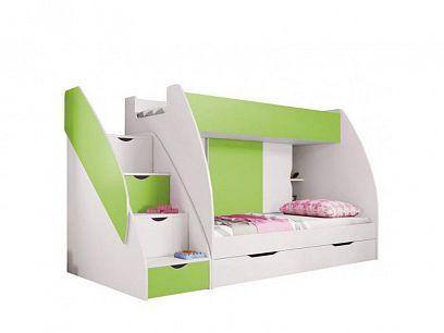 Montes patrová postel, zelená/bílá