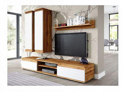 PRIME obývací stěna, dub wotan/bílý lesk