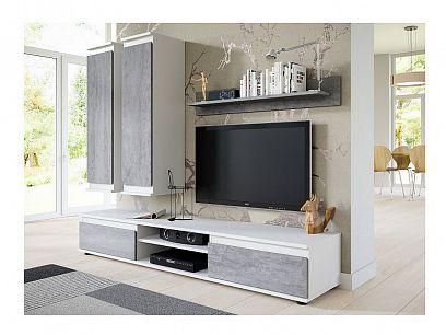 PRIME obývací stěna, bílá/beton