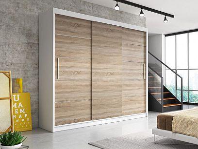 ALBATROS šatní skříň 250 bez zrcadla, bílá/dub sonoma