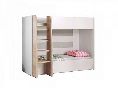 Kubik patrová postel, bílá/dub sonoma