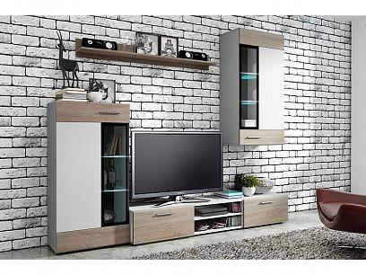 TENCY bytová stěna bílá/dub sonoma