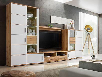 Rena obývací stěna + LED, dub wotan/bílá