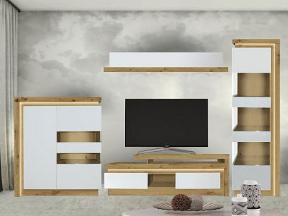 Rimini II new obývací stěna pravá, ořech salev/bílá lesk