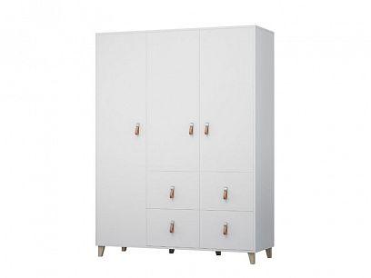 FELICITA 19 šatní skříň 4S3D, bílá/kožené úchytky/dřevěné nohy