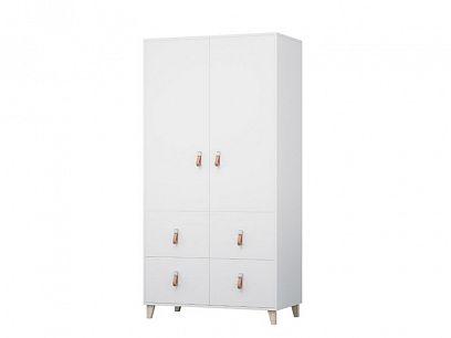 FELICITA 06 šatní skříň  4S2D, bílá/kožené úchytky/dřevěné nohy