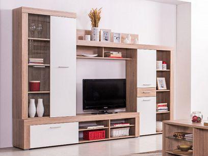 LONDON NEW obývací stěna, dub san remo/bílá