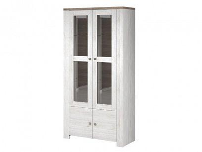 NAPOLI 12 vitrína vysoká, široká, bílá northland/dub sonoma tmavý