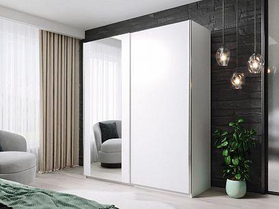 HELIX šatní skříň 180, bílá/zrcadlo
