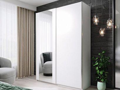 HELIX šatní skříň 150, bílá/zrcadlo