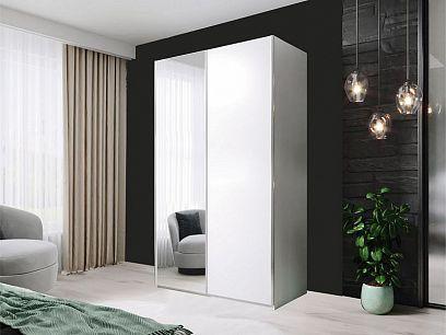 HELIX šatní skříň 120, bílá/zrcadlo