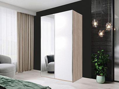 HELIX šatní skříň 120, dub sonoma/bílá/zrcadlo