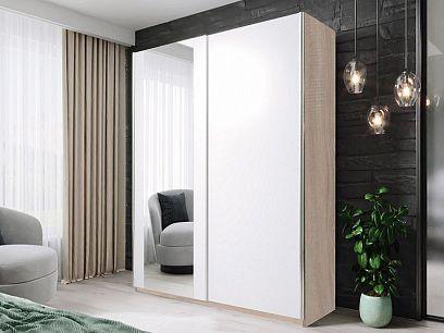 HELIX šatní skříň 150, dub sonoma/bílá/zrcadlo