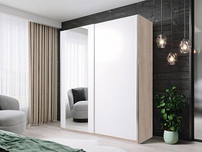 HELIX šatní skříň 180, dub sonoma/bílá/zrcadlo