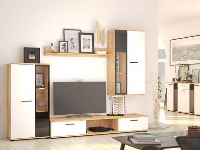 SORENTA obývací stěna, dub artisan/bílá