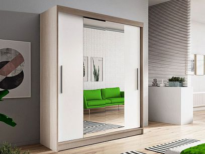 Vital 01 šatní skříň 150, dub sonoma/bílá/zrcadlo