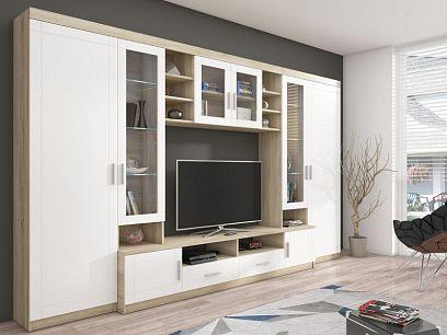 PADRE obývací stěna, dub sonoma/bílá