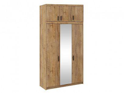 EVERLY 3DN šatní skříň se zrcadlem + nástavec, dub lefkas