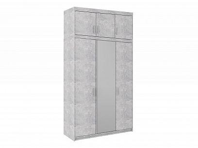 EVERLY 3DN šatní skříň se zrcadlem + nástavec, beton