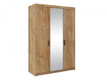EVERLY 3DN šatní skříň se zrcadlem, dub lefkas