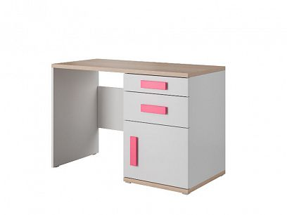 AREKA psací stůl, bílá/dub sonoma/růžová