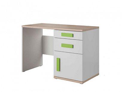 AREKA psací stůl, bílá/dub sonoma/zelená