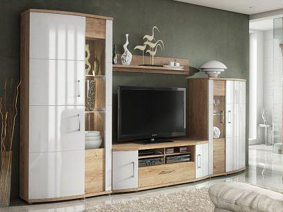 HOME obývací stěna, dub grandson zlatý/bílá lesk