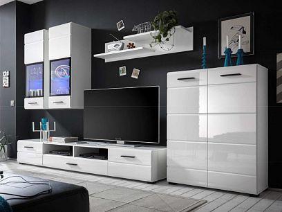 ARKTIC obývací stěna + LED, bílá/bílý lesk