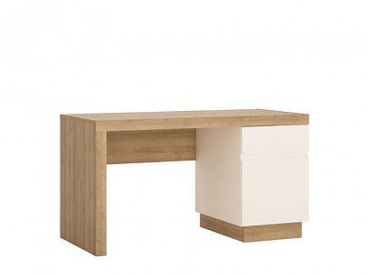 CANTUS psací stůl 1D1S, dub riviéra světlý/bílá/bílá lesk