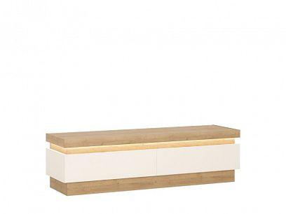 CANTUS 2S televizní stolek, dub riviéra světlý/bílá lesk