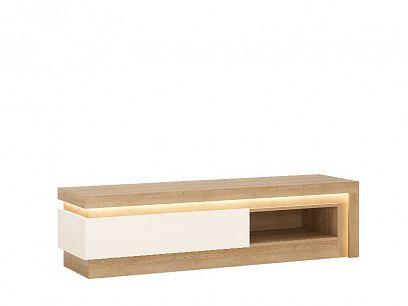 CANTUS 1S televizní stolek, dub riviéra světlý/bílá lesk