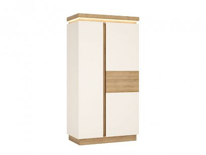 CANTUS 2D šatní skříň, dub riviéra světlý/bílá lesk