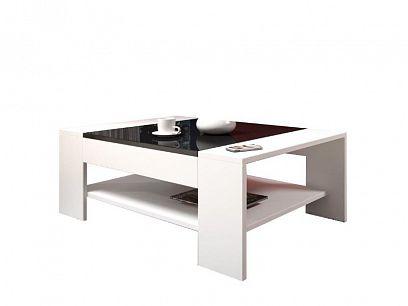 ARKTIC konferenční stolek, bílá/černá lesk